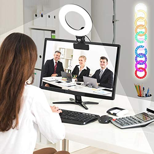 "RGBW Clip LED Ring Light 6"" 360°Full Color 8 Lighting Scenes 3200K-6500K Dimmable Clip on Desk,Monitor,Laptop,Chair and Bed for Video Conference Lighting,Computer Monitor Light or Vlogging Equipment"