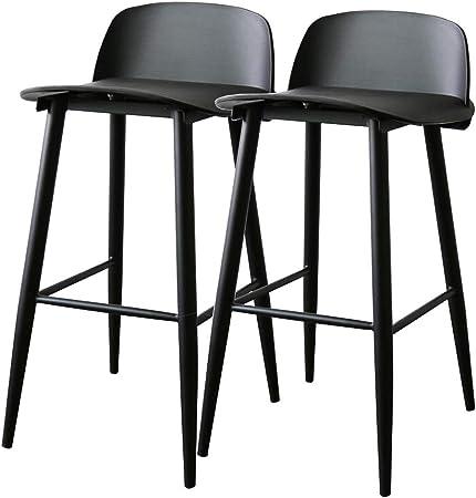 Pack 2 taburetes modernos Taburete de cocina, Asiento de plástico PP con respaldo y patas de metal (acero), Altura del asiento 65 cm - Negro: Amazon.es: Hogar