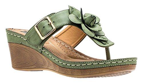 Gc Shoes Women's Sydney Rosette Slide Wedge Sandals (7.5 B(M) US, Green FL)