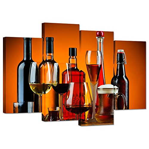Hello Artwork - Wine Themed Wall Decor Alcohol Glasses and Bottles Picture Print On Canvas Stretched and Framed Dining Room Decoration Ready to Hang