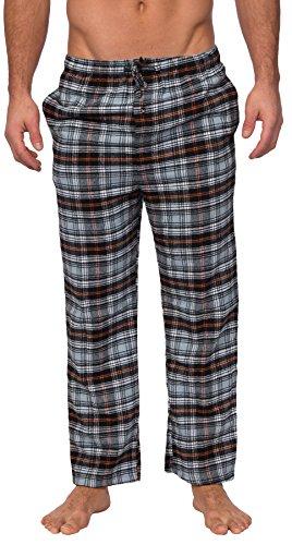 Heavy Cotton Pocket - Wanted Men's Men's Yarn Dyed Brushed Flannel Lounge Pants (Black Orange Plaid, L)