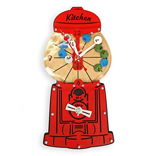 Vintage candy box gumball machine unique collecible wooden wall clock housewarming, hostess hostess gift kitchen dinning -
