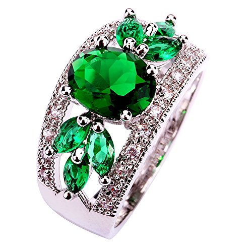 - Psiroy 925 Sterling Silver Created Emerald Quartz Filled Leaf Ring Band Size 12