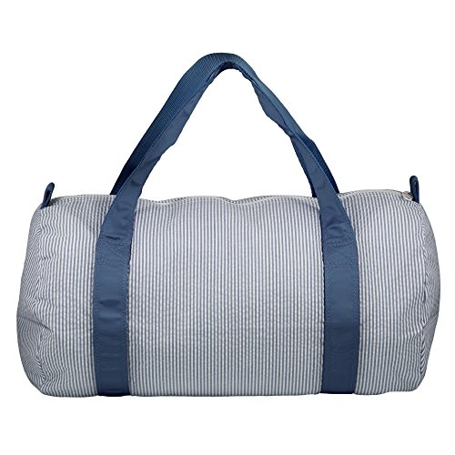 Cotton Medium Round Overnight Gym Duffel Bag - Navy Stripes by Mint