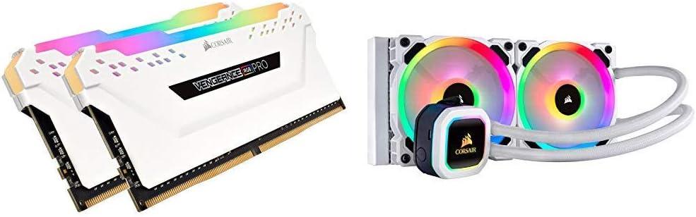 Corsair CMW32GX4M2C3200C16W Vengeance RGB PRO 32GB (2x16GB) DDR4 3200 (PC4-25600) C16 Desktop Memory White & Hydro Series, H100i RGB Platinum SE, 240mm Radiator, Dual LL120 RGB PWM Fans