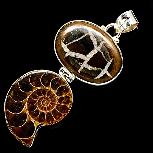 Ana Silver Co Septarian Geode, Ammonite Fossil 925 Sterling Silver Pendant 2 1/2
