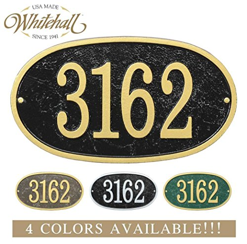 Personalized Cast Metal Address plaque with oval shape. Four colors available! Custom house number sign.