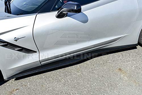 Extreme Online Store EOS Z06 Z07 Style ABS Plastic Painted Carbon Flash Metallic Side Skirts Rocker Panel Extension for 2014-Present Corvette C7 All Models