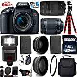 Canon EOS Rebel T7i DSLR Camera 18-55mm is STM Lens & 75-300mm III Lens + Flash + UV FLD CPL Filter Kit + Wide Angle & Telephoto Lens + Camera Case + Tripod + Card Reader - International Version