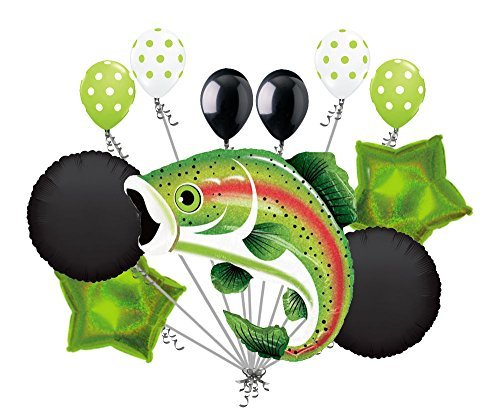 11 pc Rainbow Trout Balloon Bouquet Decoration Fish Lake Birthday Retirement -