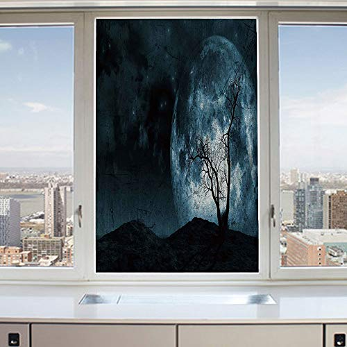 3D Decorative Privacy Window Films,Night Moon Sky with