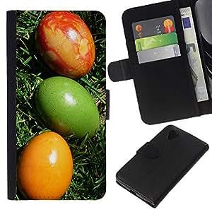 """Be-Star la tarjeta de Cr¨¦dito Slots PU Funda de cuero Monedero caso cubierta de piel Para LG Nexus 5 D820 D821 ( Huevos de Pascua coloridos Arte Verde Rojo Amarillo"""" )"""