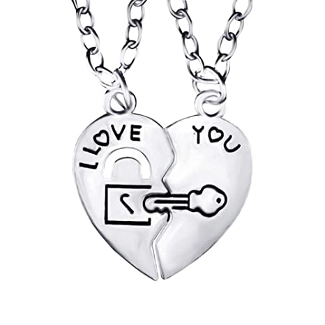 07133e1c7d Wintefei I Love You Heart Lock Key Couple Pendant Necklace Lovers Jewelry  Sweet Gift: Amazon.in: Home & Kitchen