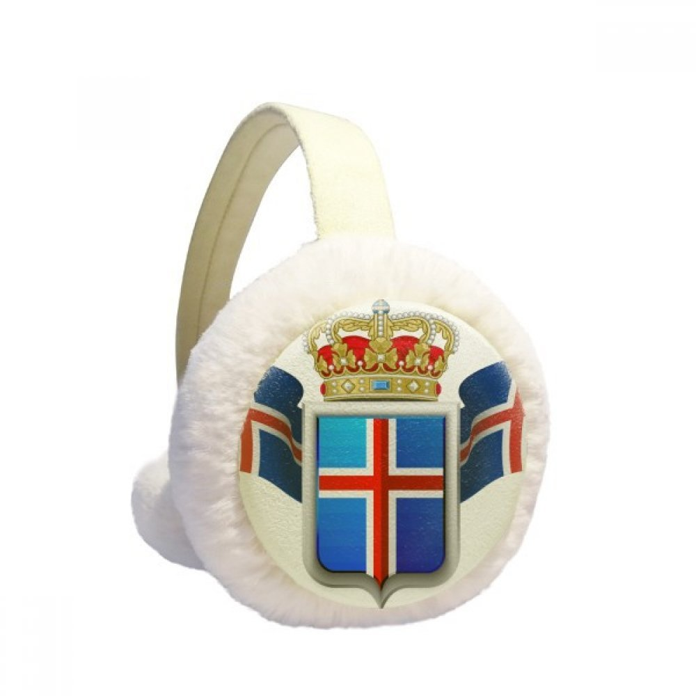 Iceland National Emblem Country Symbol Winter Earmuffs Ear Warmers Faux Fur Foldable Plush Outdoor Gift