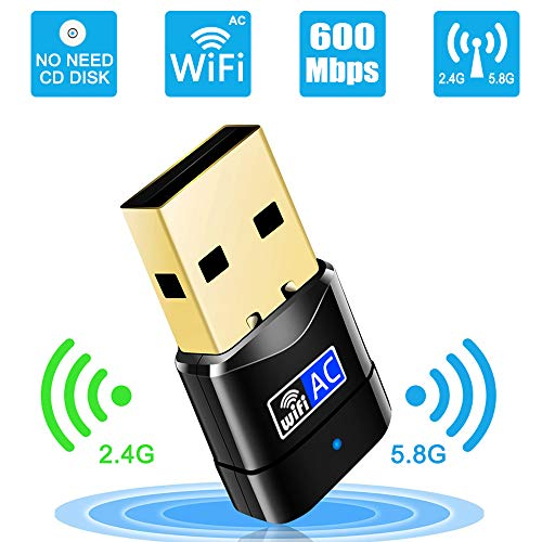 Mini USB WiFi Adapter – Portable Dual Band 2.4G/5G Mini Wi-fi AC Wireless Network Card Dongle with High Gain Antenna for Desktop Laptop PC Support Windows XP Vista/7/8/8.1/10 – Upgraded, No CD Needed