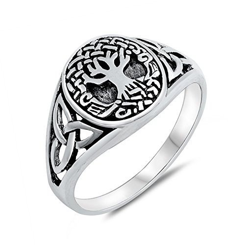 Antique Style Celtic Ring - Oxidized 925 Sterling Silver Signet Style Celtic Tree of Life with Knot Side Antique Ring Size 10