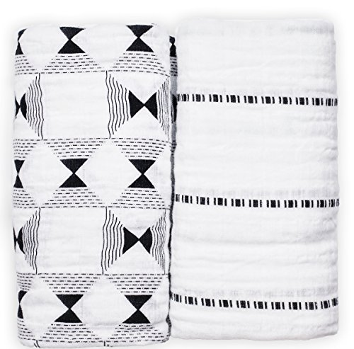 African-Inspired Organic Cotton Newborn Baby Swaddle Blanket Set in Gift Box by Nsaaba (2 Pack) | 47