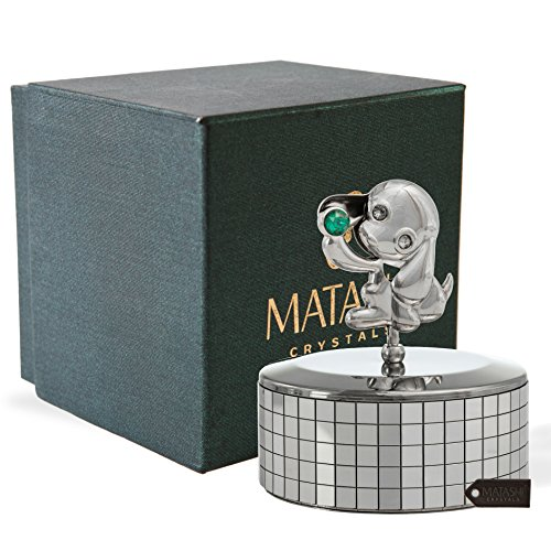 """Dog Green Gift Box - Matashi Chrome Plated Puppy Dog Music Box """"Love Story"""" 