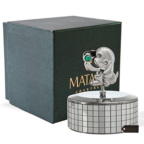 Matashi Chrome Plated Puppy Dog Music Box