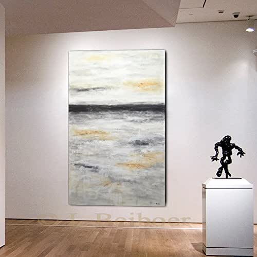 "36 x 60 Large landscape painting modern abstract painting original 60"" XXL landscape gray abstract fine art acrylic painting by L.Beiboer"