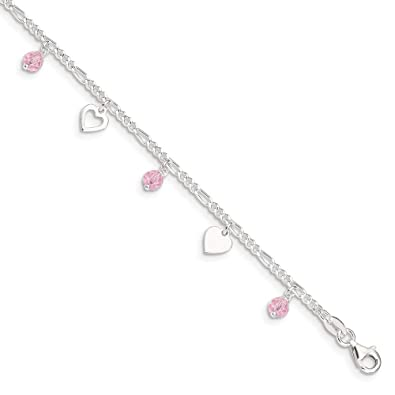 Sterling Silver 2mm Polished Chain Anklet Jewelry 9