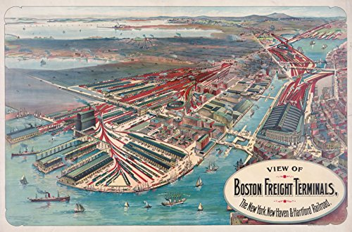 Historic Map   View of Boston freight terminals, The New York, New Haven& Hartford railraod   36in x 23in - Terminal Boston Map