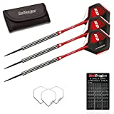 Red Dragon Flintlocks 26g - 90% Tungsten Steel Darts with Flights, Shafts, Wallet & Red Dragon Checkout Card