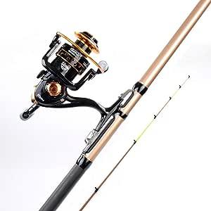 CANAS MAZHONG Fibra de Carbono Caña de Pescar Spinning Carrete y ...