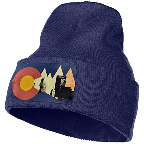 LIUYhat Colorado Flag Winter Beanie Hat Soft & Warm Chunky Skull Wool Knit Hats Cap for Men Women