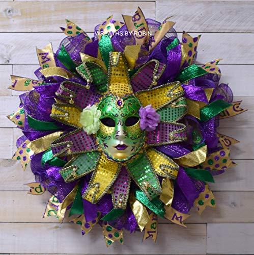 Mardi Gras Jewel Flower Mask, Fat Tuesday, Mardi Gras Wreath, Mardi Gras - Gras Jewel Mardi