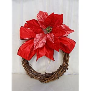Sweet Home Deco 18'' Silk Poinsettias Artificial Flower Bush Christmas Decorations (5 Stems/ 5 Flower Heads) 67