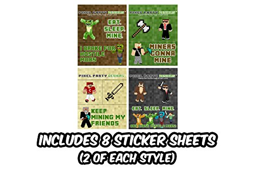 Pixel Party Toys Miner-Themed Party Favor Bags (8-Pack) - Birthday Party Supplies Kit Includes Goody Bags, Stickers, Wristbands, Mini Character Toys, Balloons and One Bonus Pair of Sunglasses