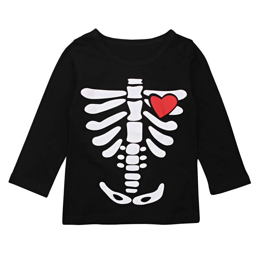 OBEEII Halloween Costume Toddler Kid Boy Girl Skeleton Top Shirt Clothes Fancy Dress