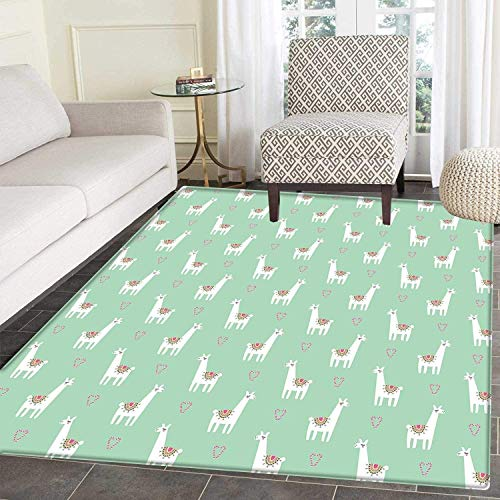 - Llama Anti-Skid Area Rug Cute Llama with Candy Cane Hearts Fun Pattern on Mint Green Background Soft Area Rugs Mint Green Multicolor