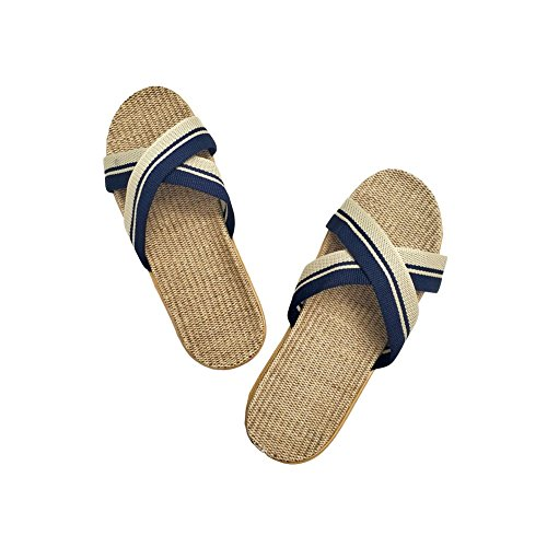 cb Summer Women Sandals HRFEER Silent Slippers Shoes Slippers Sweat Home nblue Cross Belt 28 for Indoor Floor Flax xC4gqwB