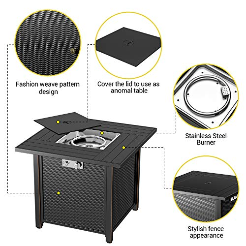 Blubery 30 Propane Fire Pit Table 50 000btu Auto Ignition With Pulse Switch Gas Fire Pit Table Double Layer Insulation Board Safety Switch Adjustable Footpads Laval Rock Etl Cert Pricepulse