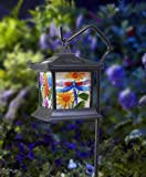 Moonrays 92276 Solar Powered Hanging Floral Stained Glass LED Light