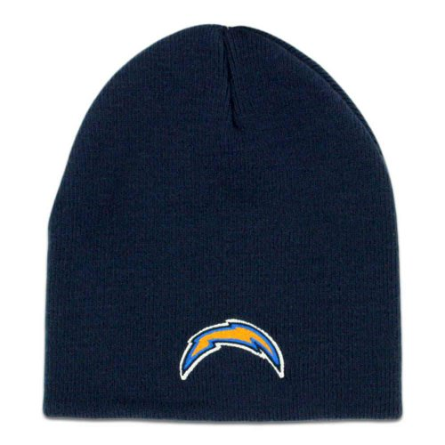 San Diego Chargers Navy Blue Skull Cap - NFL Bolts Cuffless Beanie Knit Hat