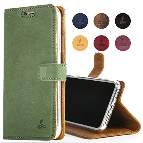 iPhone 8 Case, Snakehive Genuine Leather Wallet with Viewing Stand and Card Slots, Flip Cover Gift Boxed and Handmade in Europe by Snakehive for iPhone 8 - (Dark Green)