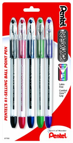 Pentel R.S.V.P. Ballpoint Pen, Fine Line, Assorted Ink, 5 Pack  (BK90BP5M) (Ink Pentel Pens)