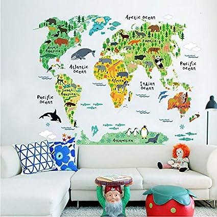Autocollants muraux autocollants animaux Carte du Monde ...