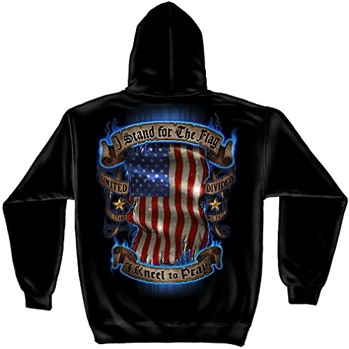 I Stand for the flag, I kneel to pray Short Sleeve Shirts, 100% Cotton T Shirt, Show Your Pride With Our Patriotic I Stand for the flag Unisex T-Shirts for Men or Women HOODED SWEAT SHIRTLARGE from Erazor Bits