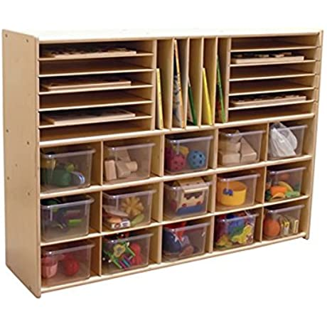Contender Kids Home School Furniture C14001 Multi Storage With 15 Translucent Trays 33 7 8 H