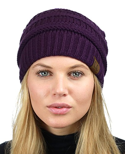 Lined Beanie - C.C Unisex Chunky Soft Stretch Cable Knit Warm Fuzzy Lined Skully Beanie, Purple
