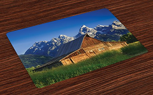 Lunarable Rustic Place Mats Set of 4, Moulton Barn and Teton Mountain Range in Grand Teton National Park Wyoming, Washable Fabric Placemats for Dining Table, Standard Size, Brown Green