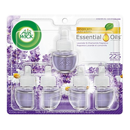 Air Gel Dispenser - Air Wick plug in Scented Oil 5 Refills, Lavender & Chamomile, (5x0.67oz), Essential Oils, Air Freshener