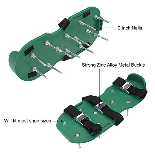 Barbariol Lawn Aerator Shoes Nylon, Grass shoes Spikes 3 Straps with Metal Buckles Size Adjustable (a)