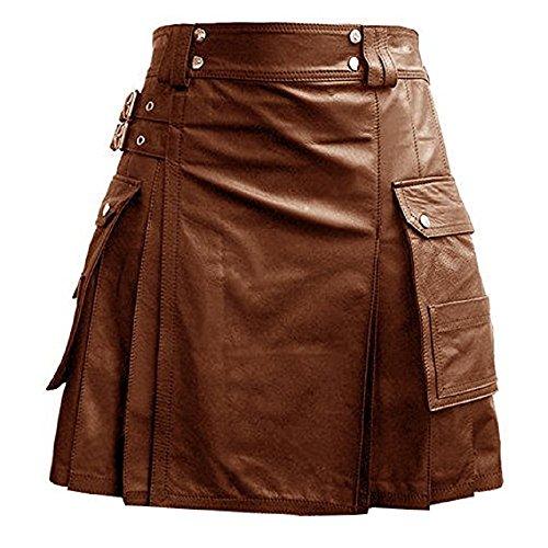 (Mens Black Brown Leather Gladiator Utility Kilt Flat Front Twin Cargo Pockets (K5T) (42