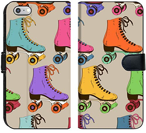 Liili iPhone 6 and iPhone 6S Flip Micro Fabric Wallet Case Image ID: 26459527 Seamless Pattern with Colorful Retro Roller Skates - Custom Skate