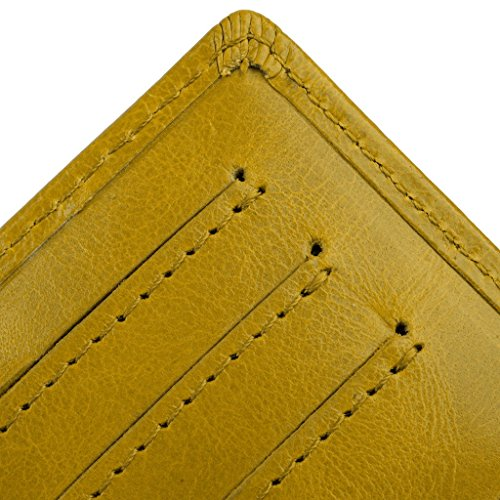 YALUXE Women's Compact Small Leather Tri-fold Wallet with Zipper Pocket(Gift Box) Yellow by YALUXE (Image #5)
